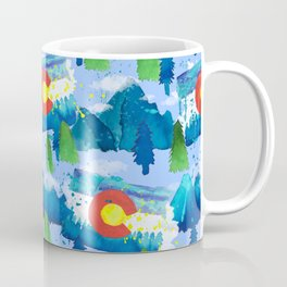 Watercolor Colorado mountains, trees and flag Light Blue Coffee Mug