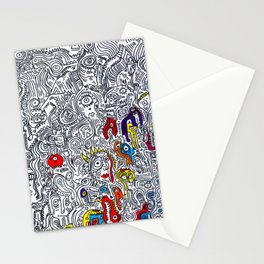 Pattern Doddle Hand Drawn  Black and White Colors Street Art Stationery Cards