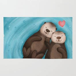 Otters in Love Rug