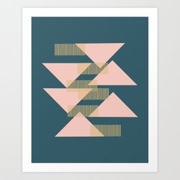 Modern Lines and Triangles Design in Blush, Teal, and Gold Kunstdrucke