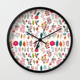 Colorful fall orange pink ivory holly berries floral Wall Clock