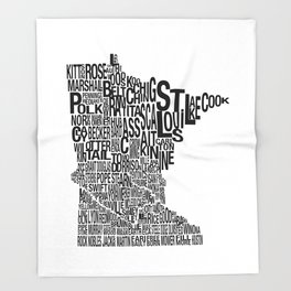 Minnesota Counties Map Throw Blanket