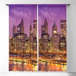 Awesome Brooklyn Bridge Magnificent Manhattan Skyline Citylights At Romantic Evening Red Ultra HD Blackout Curtain