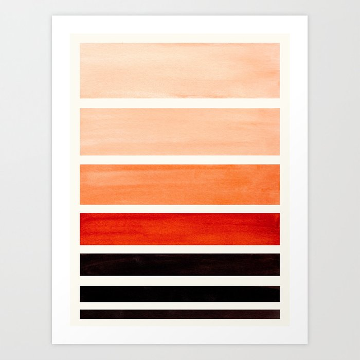 Burnt Sienna Minimalist Mid Century Modern Color Fields Ombre Watercolor Staggered Squares Kunstdrucke