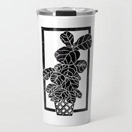 Fiddle Leaf Fig Block Print Travel Mug