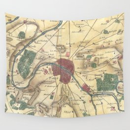 Vintage Map of Paris and Surrounding Areas (1780) Wall Tapestry