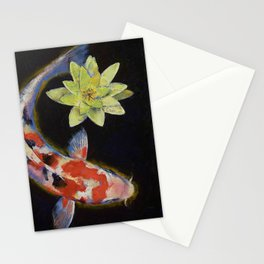Koi with Yellow Water Lily Stationery Cards
