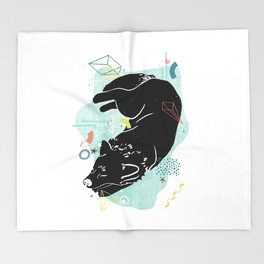 Dreaming wolf illustration Throw Blanket