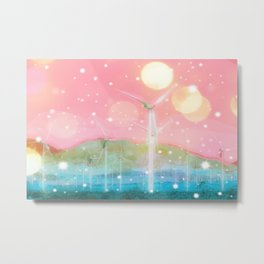 wind turbine in the desert with snow and bokeh light background Metal Print