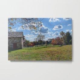 Stone Barn in Autumn Metal Print
