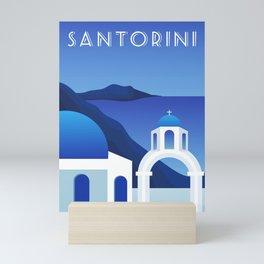 Santorini, Greece - retro travel poster #7 Mini Art Print