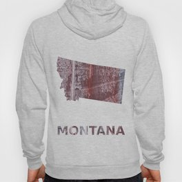 Montana map outline Gray red clouded aquarelle illustration Hoody
