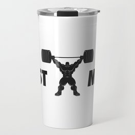 Heavy weight lifter muscle bodybuilder silhouette Travel Mug