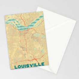 Louisville Map Retro Stationery Cards