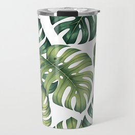 Monstera botanical leaves illustration pattern on white Travel Mug