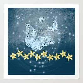 Mysterious butterflies in blue with gold flowers Art Print