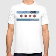 Ephemeral Chicago Flag Mens Fitted Tee White MEDIUM