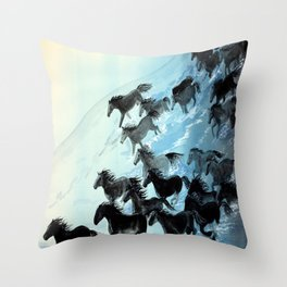 Horses In Surf Throw Pillow