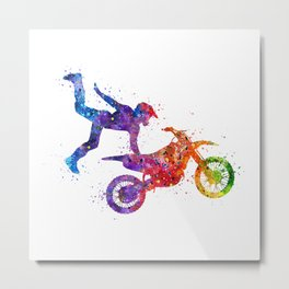 Boy Motocross Hart Attack Trick Colorful Watercolor Art Gift Motorcycle Art Metal Print