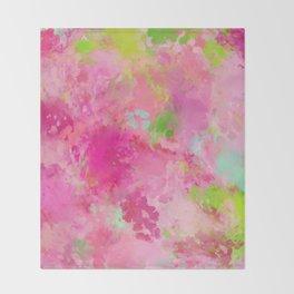 Pink neon green abstract look Throw Blanket