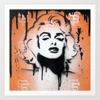 SF Giants x Marilyn Monroe by Adam Valentino  Art Print