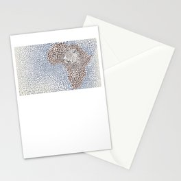 Pattern seampless leopard fur and face with map of Africa Stationery Cards