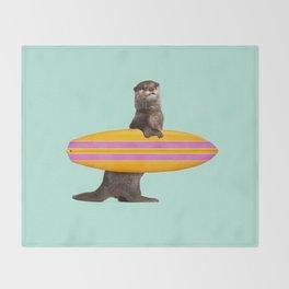 SURFING OTTER Throw Blanket