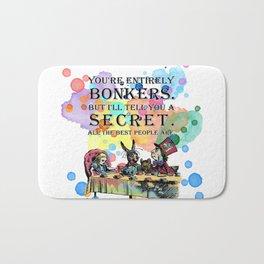 Watercolor Tea Party - Bonkers Quote - Alice In Wonderland Bath Mat