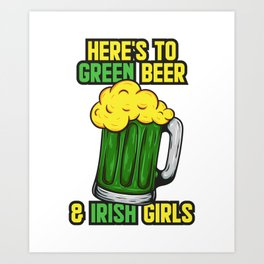 Beer and skulls happy st patrick day Art Print
