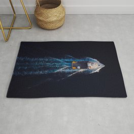 Motorboat Top View | Aerial Photography  Rug