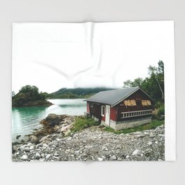 Fisher man house in Norway Throw Blanket