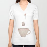 tea V-neck T-shirts featuring Tea by Lime