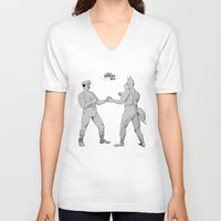 smash bros V-neck T-shirts featuring Old Timey Smash Bros by MikeOB