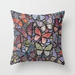 butterflies galore grunge version Throw Pillow