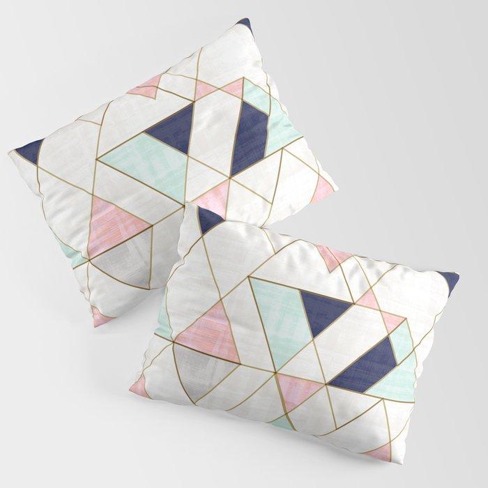 Mod Triangles - Navy Blush Mint Kissenbezug