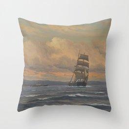 Martin Aagaard - Sailing Ship and Steamship Throw Pillow