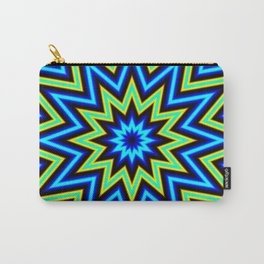 Yellow Green and Blue Psychedelic Star Pattern Carry-All Pouch