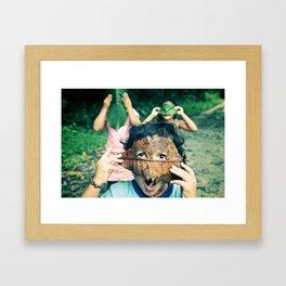 Kids with leaf masks Framed Art Print