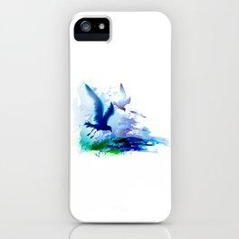 Birds flying. Sea, ocean watercolor gulls with waves. Dark blue water. iPhone Case