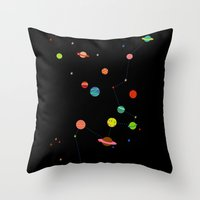 planets Throw Pillows featuring Planets by camilla falsini