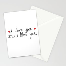 I love you and I like you - Parks and Rec Stationery Cards