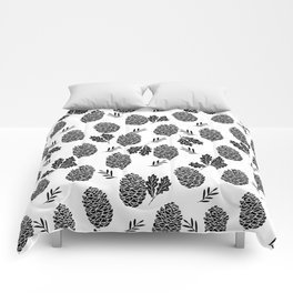 Linocut Pinecones fall autumn nature black and white minimalist botanical gifts Comforters