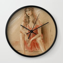 Sexy Lady in Red Dress Wall Clock