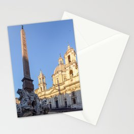 Sant Agnese Church at dawn in the Piazza Navona - Rome, Italy Stationery Cards
