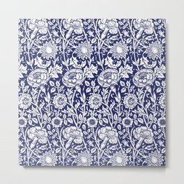 "William Morris Floral Pattern | ""Pink and Rose"" in Navy Blue and White Metal Print"