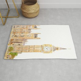 London Big Ben  palace of Westminster watercolor painting  Rug