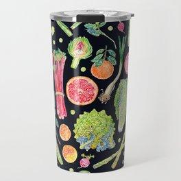 Spring Harvest Pattern Dark Travel Mug