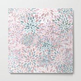 Festive, Floral Prints, Pink and Teal, Modern Print Art Metal Print