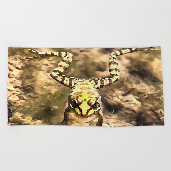 Swimming Frog Beach Towel