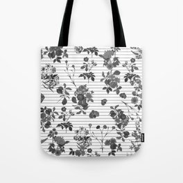 Black and White Floral on Stripes Tote Bag